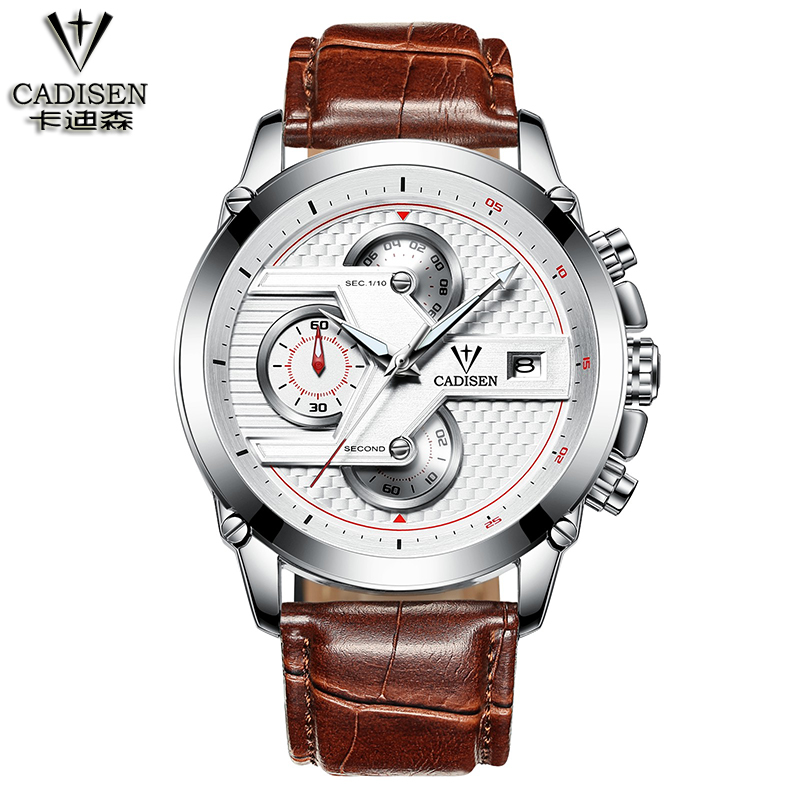 Cadisen six-pin calendar quartz movement watch White shell / white printing red / brown leather watch Steel / PU leather watch<br>