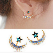Fashion Bohemian Rhinestone Crystal Gray Pink Blue Colors Moon Star Pentagram Piercing Earrings For Women boucle d'oreille E398(China)