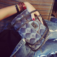 Fashion mini bag velvet vintage one shoulder women's handbag small plaid chain messenger bag