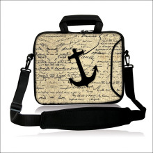 "10""13""14""15""17""  Neoprene Computer Sling Bag Black Anchor Pattern Laptop Handle Carring Shoulder Satchel Pouch  For Intel Sony"
