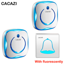 CACAZI Doorbell Wireless EU US AU UK Plug Waterproof 280M Remote 110V-220V With fluorescently  door chimes 1 Button 2 Receiver