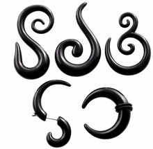 2PCS Black Acrylic Fake UV Ear Plugs Tunnels Spiral Ear Tapers Gauges Expanders Earring Stretcher Rings Piercing Body Jewelry(China)
