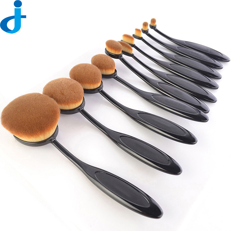 10PC/Set Tooth Brush Shape Oval Makeup Brush Set Multipurpose Eyebrow Foundation Shadows Eyeliner Lip Brush Tools Kits SC69<br>