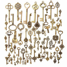 Set Of 70 Antique Vintage Old Look Bronze Skeleton Key Heart Bow Lock pendant Birthday Gift
