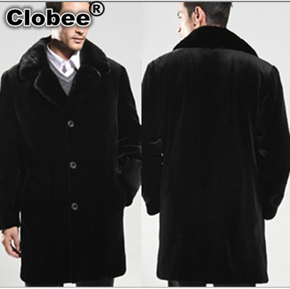 2017 6XL Winter Black Mink Coat Windbreaker Vetement Men's Long Style Turn-Down Collar 2018 Faux Fur Coat Plus Size XXXL V557(China (Mainland))