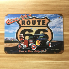 Metal signs Route 66 car on road wall art painting Vintage garage poster house iron decoration retro plate 20*30cm free ship