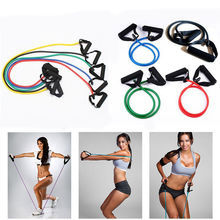 Exercise Yoga Resistance Bands Material TPE Workout Fitness Stretch Elastic Tube Rope Practical Training Body Building Equipment