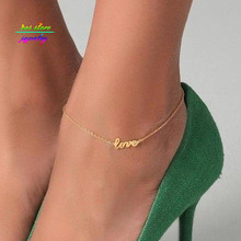 New Summer Style Gold/Silver/Black Plated LOVE Letter Statement Anklet For Women Bracelet Bijoux(China)
