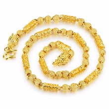 7mm 24.5 inch  Fashion jewelry Gold Color Ball Link  Chain Necklace dragon Clasp Heavy 113g weight  XAMS Gifts for Mens