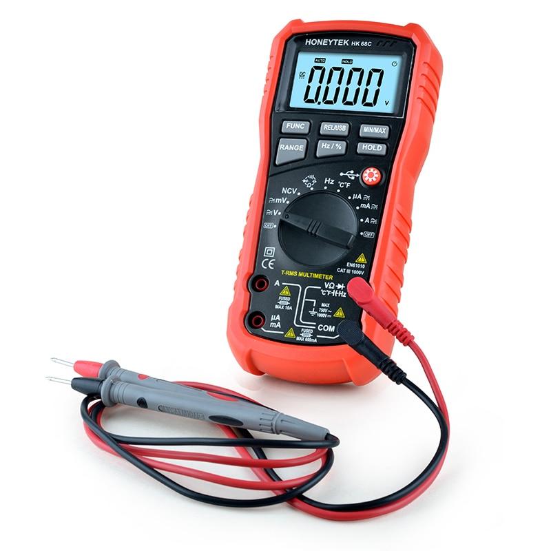 6000 counts Digital Multimeter HK68C True RMS AC/DC Voltage Resistance Capacitance Frequency Temperature<br>
