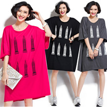 Plus Size 5XL 6XL 2017 Summer European Women Fashion House Print Cotton Tops Tess Ladies Female Big Oversized Long T shirt Dress