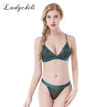 66e2cf869cf4e Ladychili Wome Intimate Sexy French Triangular Cup Transparent Flora  Embroidery No Push Up Wireless Bra and Panties Set N372