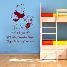 Cartoon Winnie the Pooh Book Quotes Wall Sticker What day is it saying wall sticker Kids Nursery Room Bedroom Wall Mural M-74(China)