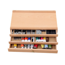 Wooden Artist Storage Box 1/2/3 Drawers Organize Tools Pastel Pen Marker