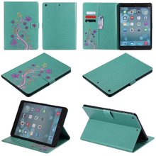 Embossing green Butterfly Flip Case for Apple iPad air1 2 with iPad mini 2 3 4 iPad 2 3 4 pro stand Case Free Shipping