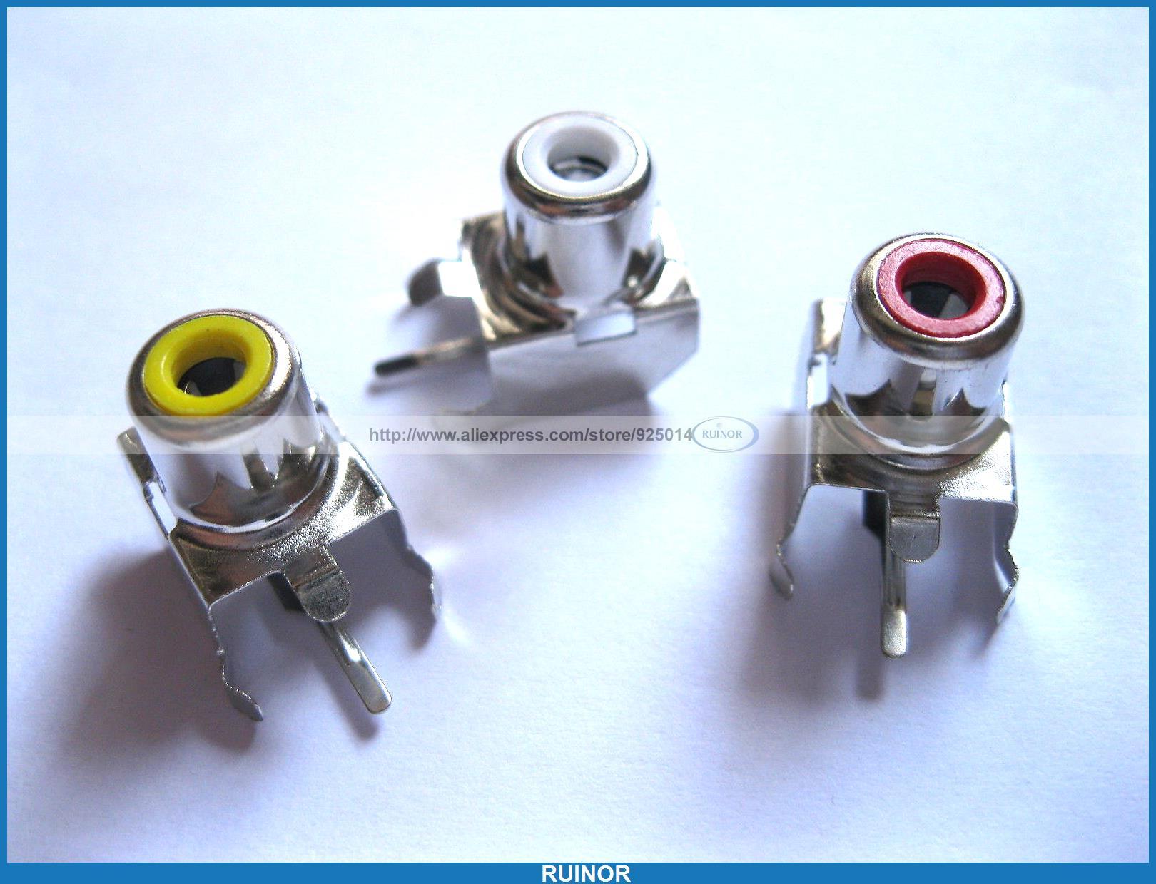 60 Pcs AV 8 4 3 AV Pin Jack 3 Color RCA Female Audio Video AV Socket Connector<br><br>Aliexpress