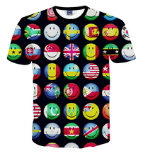 world flags printed short sleeve t shirt men and women's summer t shirt  free shipping