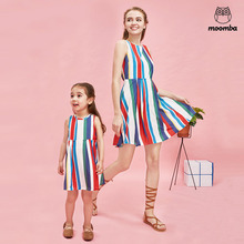 mom daughter family matching outfits fashion vest woman baby girl dresses Children's clothing sleeveless Color stripes printing