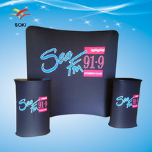 8ft  Curved Shape Exhibition Stands Fabric Trade Show Display  Tension Fabric Display Booth Design System