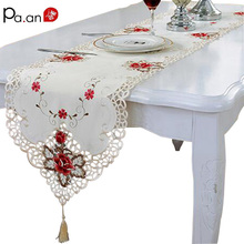 Fashion Embroidered Table Runner Floral Lace Dust Proof Covers for Table Home Party Wedding Table Decoration Pa.an(China)