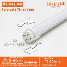6pcs/lot 180 degree rotate T8 led tube light 600mm 10W 900LM  SMD2835 led bulb 0.6m light with 2 years warranty free shipping