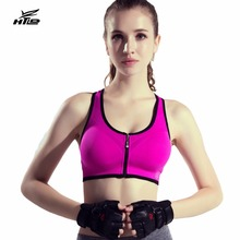 HTLD Front Closure Zipper Sports Bra Women Shockproof Running Bra Lady Gym Push Up Padded Yoga Vests Fitness Dance Shirts Femme
