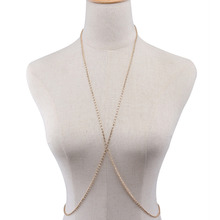 Gold Silver Color Sexy Female Body Chains Full Drill X-shaped Body Jewelry Body Chain Popular Simple Elements Women Accessories(China)