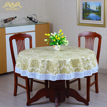 Pastoral PVC Round Table Cloth Floral Print Lace Edge Plastic Table Covers Waterproof Oilproof Coffee Tablecloths Free Shipping