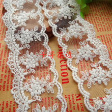 Novelty DIY 20 yards/lot Width 4.5cm  milk white mesh lace fabrics/Wedding tablecloth curtains doll lace decoration 156191