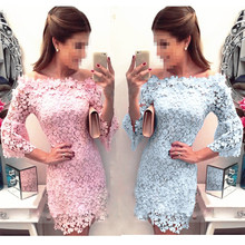 The new fashion trend lace collar dress one night party dress girl  Flower Lace Dress Floral  Slash neck Sexy Short Evening