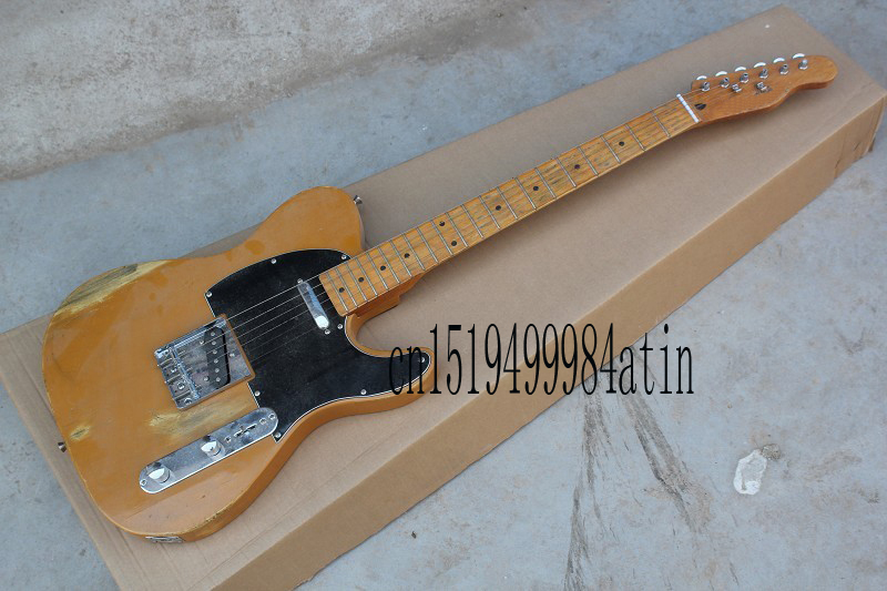 Free Shipping !! Top Quality F Telecaster Nice Maple Neck Electric Guitar Black Pick Guard 21 fret Hot Guitar In Stock @15(China (Mainland))