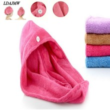 2017 Hot High quality Womens Girls Lady's Magic Quick Dry Bath Hair Drying Towel Head Wrap Hat Makeup Cosmetics Cap Bathing Tool