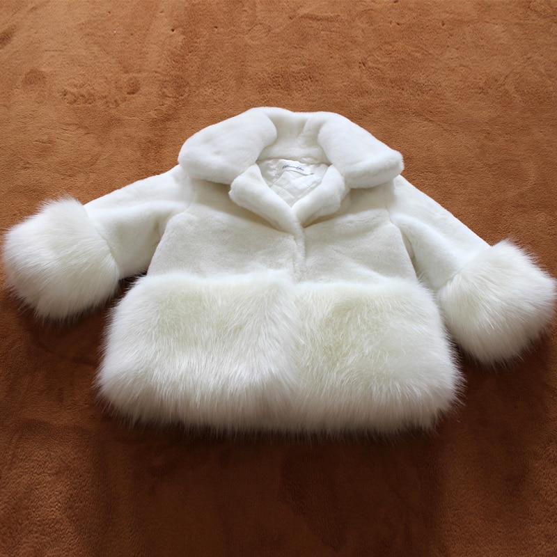 Kids Girls Rabbit Fox Fur Jacket 2017 Fashion New Baby Kids Girl Faux Fur Coat Outwear Little Girl Long sleeve Fur Coat Jacket<br>
