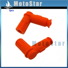 2pcs Orange Rubber Ignition Coil Spark Plug Cap For Pit Dirt Bike ATV Quad Buggy Go Kart Moped Scooter 150cc 160cc 200cc 250cc