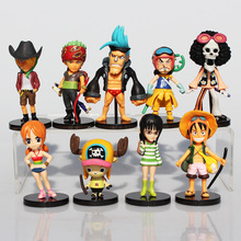 9Pcs/Set Anime One Piece Mini Luffy Roronoa Zoro Sanji Chopper Franky Nami Figure Toys PVC Dolls Great Gift