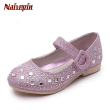 2017 Children Princess Glitter Sandals Kids Girls Shoes Square Heels Dress Shoes Party Shoes Pink /Blue/Silver/Gold Size 26~36