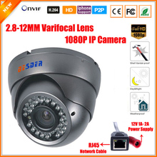 Varifocal Lens 2.8-12mm Dome Vandalproof IP Camera Indoor Outdoor 2.0MP 1080P SONY IMX322 ONVIF IOS Android P2P IP Camera CCTV(China)