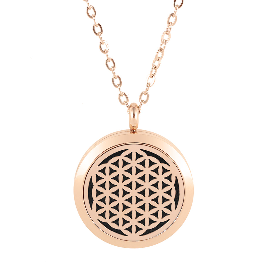 flower of life diffuser necklace silver gold rose gold 20mm 25mm 30mm locket jewelry (3)