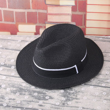 Block sun child baby Girl boy adult male woman female summer straw hat British retro Jazz hat Striped tape beach hat lm31-2(China)