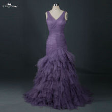 RSE669 Kerchief Ruffles Skirt Mermaid Trumpet Style Lavender Tulle Prom Dresses