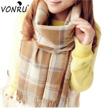 Korean Style Cashmere  Women Scarf Winter Pashmina Scarf Lady Long Scarf Female Neckerchief Plaid Wool Cotton Scarves