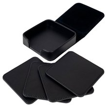4pcs coffee cup mat Square PU Leather Placemat Coasters Cup Mats with Holder for Home Decoration Vintage mug mat