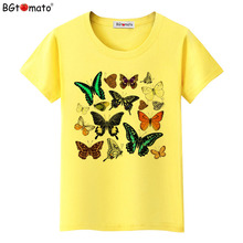 BGtomato Harajuku butterfly t shirt women summer clothes fashion tshirt	brand top tees cheap sale t-shirt kawaii shirt	plus size