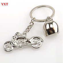 New Fashion 3D Mini Motorcycle Motorbike Helmet Cool Silver Metal Charm Car Key Ring Keychain Gift Top Selling(China)