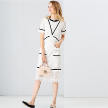 Vintage Dresses Classic Lace Hollow Out Women 2017 Summer Fashion Short Sleeve White / Black Sexy Pockets Mid-Calf New Dress