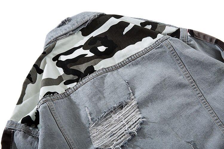 Camouflage Patchwork Ripped Denim Jacket 8