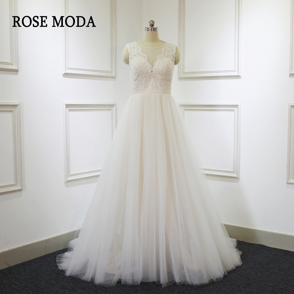 Rose Moda Lace Tulle Wedding Dress 2018 Champagne Wedding Dresses with Ivory Lace Appliques Bridal Gowns