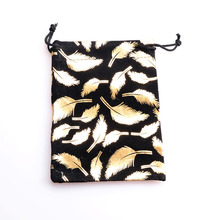 Hotsale 10pcs/lot 10X14CM 4Colors Feather Drawstring Velvet Bags Pouches Jewelry Packing Bags Christmas Valentines Gift Bags
