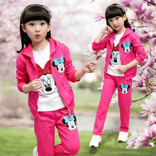 2017 new Spring and Autumn models baby Minnie clothing sets for girls children three-piece suit girl Casual Clothing Set(China)
