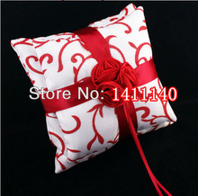 Free shipping Top quality Wedding favors red rose design Satin Ring Pillow for Wedding Ceremony Party Stuff Accessories(China)
